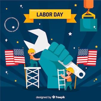 労働者の日背景フラットデザイン