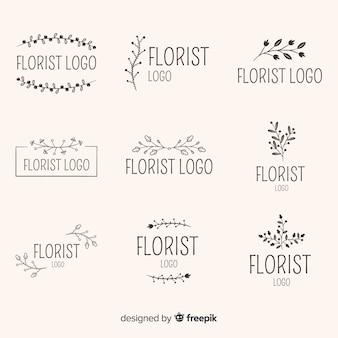 結婚式の花屋のロゴのパック