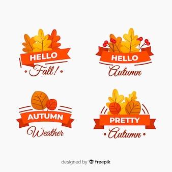 平らな秋のバッジのコレクション