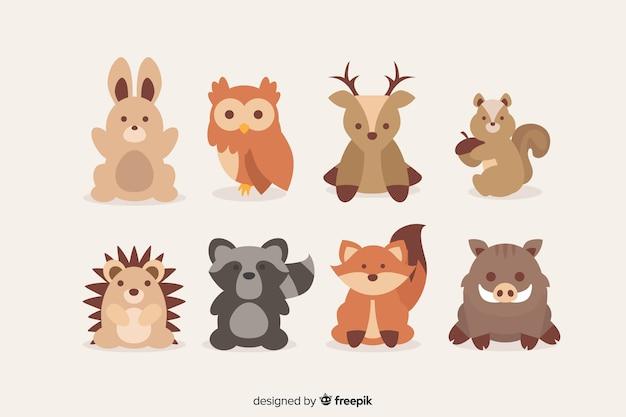 秋の森の動物フラットデザイン