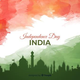 Акварель фон день независимости индии