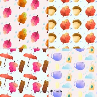 秋のパターンコレクション水彩風