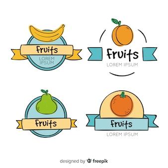 Коллекция рисованной фруктовой этикетки
