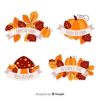 平らな秋のバッジのパック