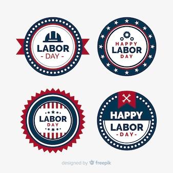 フラットスタイルのアメリカ労働日バッジコレクション