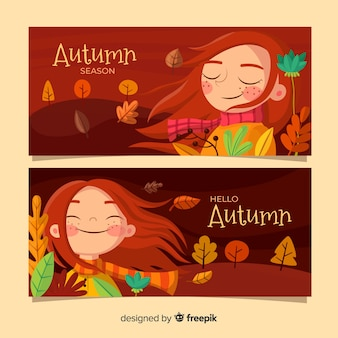 平らな秋のバナーのパック