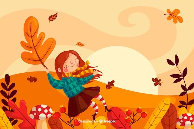 Осенний пейзаж фон плоский дизайнлан