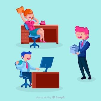 オフィスで働いている人々のセット