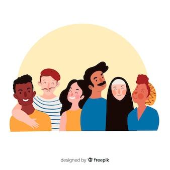 幸せな人々の笑顔の多民族グループ