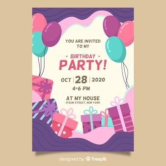 お誕生日おめでとうパーティーの招待状のテンプレート