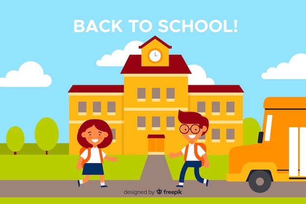 学校に戻る幸せな子供たち