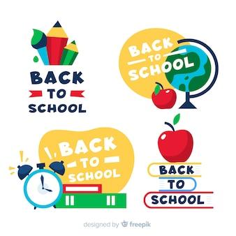 Назад к школьным этикеткам и коллекции значков