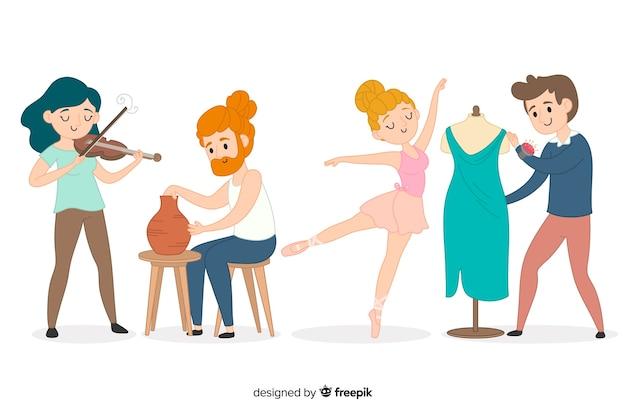 さまざまな分野のアーティストのセット:ミュージシャン、職人、ファッションデザイナー、ダンサー