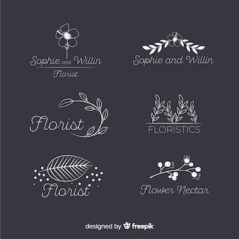 結婚式の花屋のためのロゴのコレクション