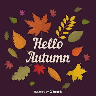 平らな秋の紅葉のパック