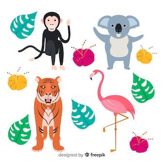 熱帯動物のセット:サル、コアラ、トラ、フラミンゴ。フラットスタイルデザイン