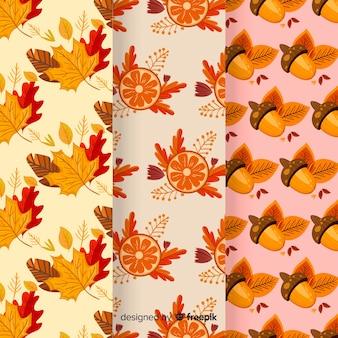 秋のパターンコレクションフラットデザイン