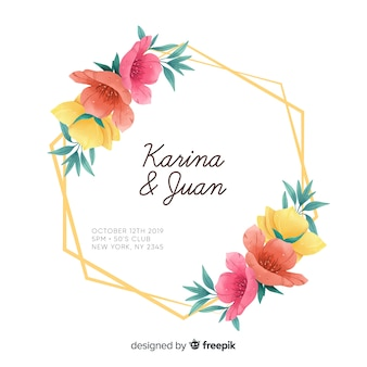 花のフレームの招待状カードのテンプレート