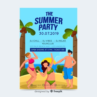夏のパーティーのポスターやチラシテンプレートを印刷する準備ができて