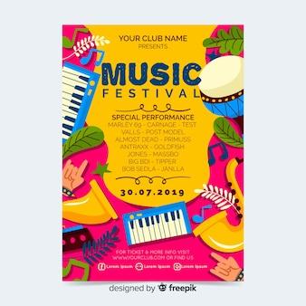 音楽祭パーティーポスターやチラシテンプレート