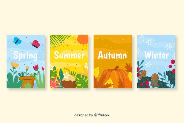 Ручной обращается коллекция сезонных плакатов