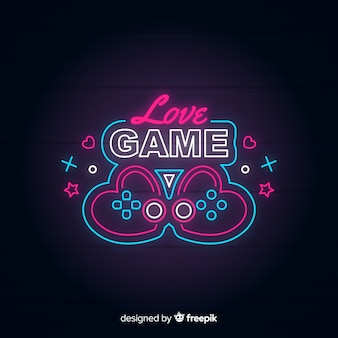 Неоновый свет старинный игровой логотип