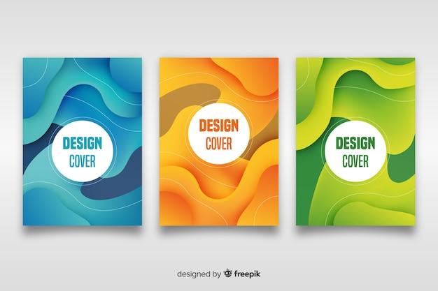 抽象的なデザインセットの表紙のテンプレート