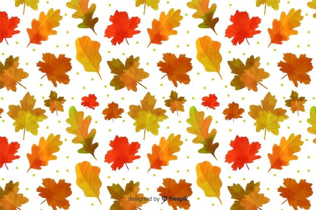 Осенние листья фон акварелью