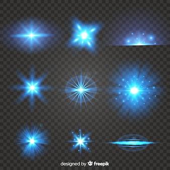 光の効果の現実的なバーストのセット