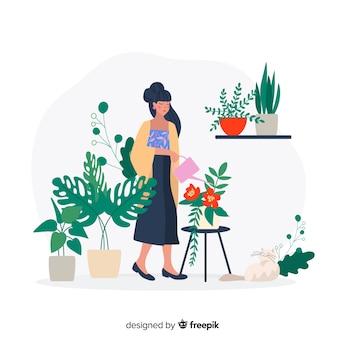 Японка ухаживает за растениями, работает садовник