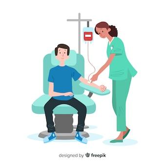 Иллюстрация человека, сдающего кровь