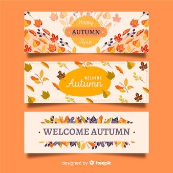 手描き秋バナーのコレクション