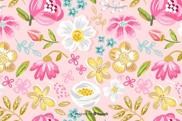 カラフルな塗られた花の背景