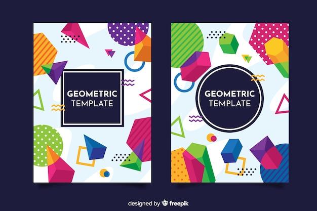 Шаблон обложки с набором геометрического дизайна