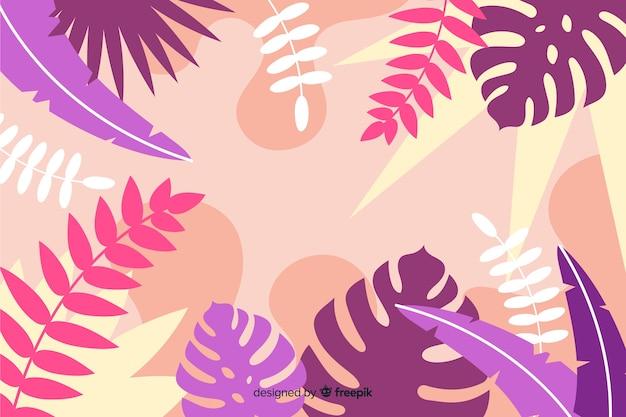フラットスタイルのデザインで植物と葉の組成と熱帯の背景