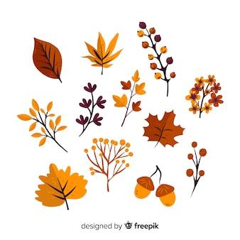 Рисованной осенний лес листья коллекции