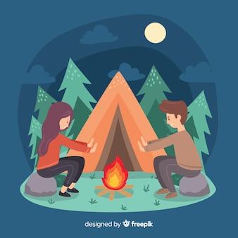 キャンプをしている人々のイラスト