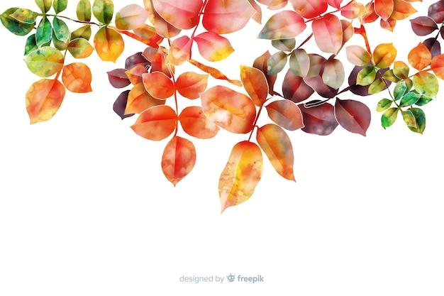 Акварель градиент осенние листья фон