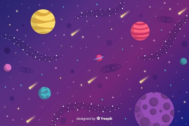 平らな惑星と小惑星の背景