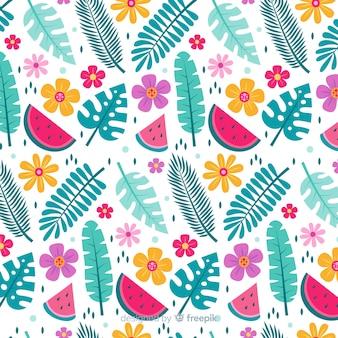 Плоский тропический цветок и листья