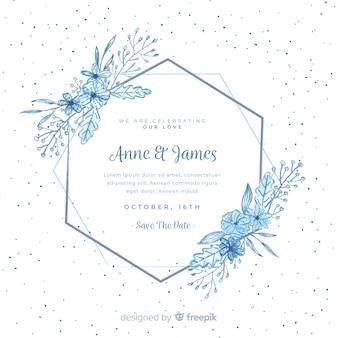 花のフレームとの結婚式の招待状
