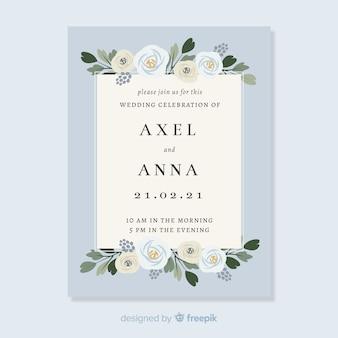 花の要素を持つ結婚式の招待状