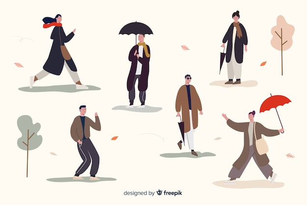 Люди, идущие в осенней коллекции