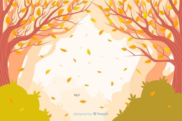 Фон плоского осеннего пейзажа