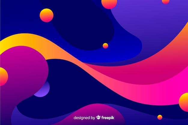 抽象的なカラフルなフロー図形の背景デザイン