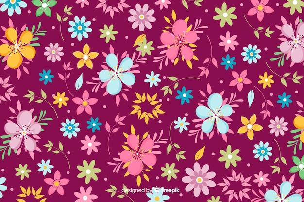 美しい花と花柄のデザインでカラフルな背景