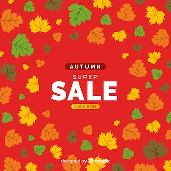 フラットデザイン秋の販売の背景