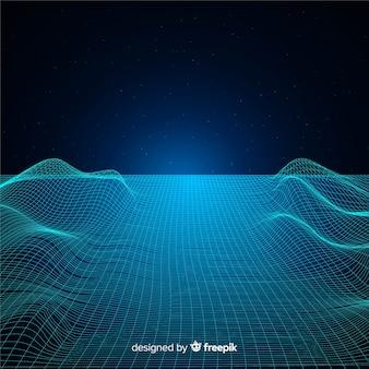 抽象的なデジタルメッシュ波背景