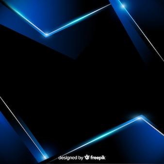 青い金属図形と抽象的な背景
