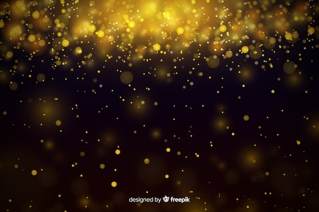 Роскошный фон с золотыми частицами боке